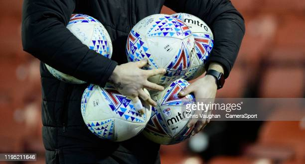 A close up of EFL Mitre Delta match footballs during the Sky Bet Championship match between Barnsley and Preston North End at Oakwell Stadium on...
