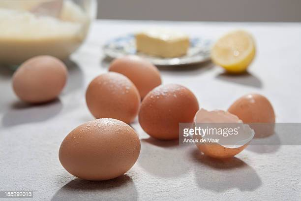 close up of eggshells and flour - eggshell stock pictures, royalty-free photos & images