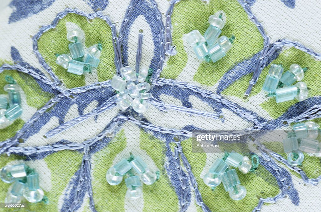 Close up of embroidery work, elevated view : Stockfoto