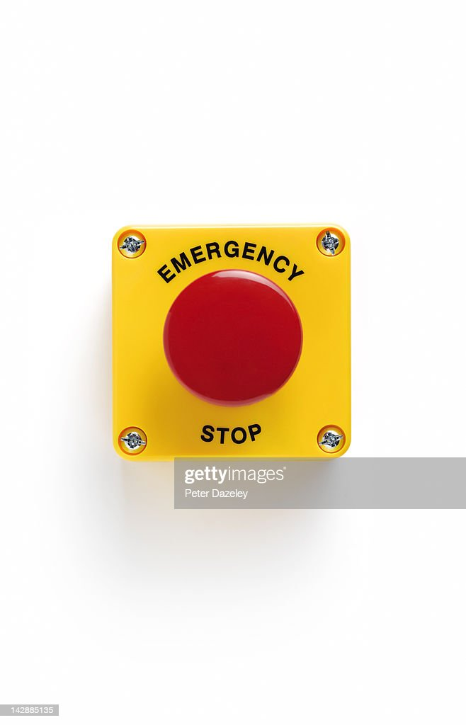 Close up of emergency stop panic button with : Foto de stock