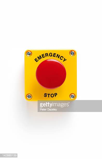 close up of emergency stop panic button with - emergencies and disasters stock pictures, royalty-free photos & images