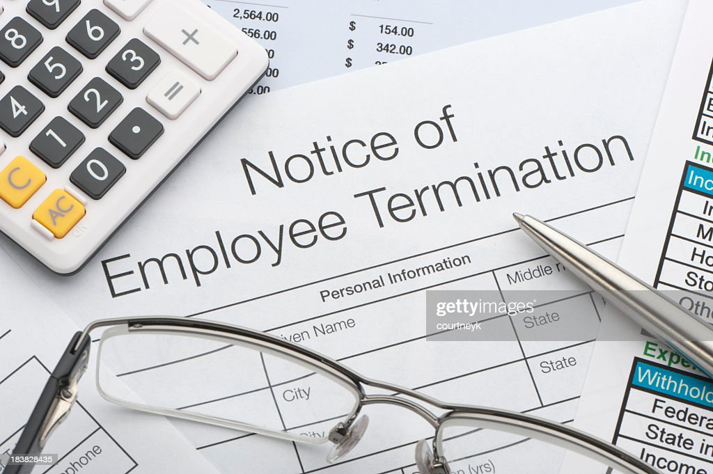 Close up of Employee termination form : Stock Photo