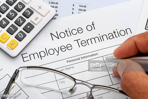 Primo piano del modulo di licenziamento del dipendente