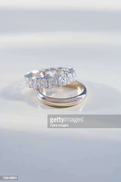 Close up of engagement and wedding rings