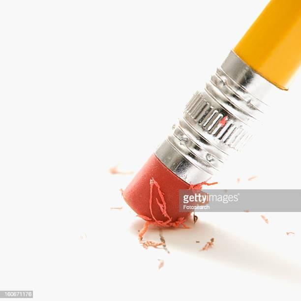 Close up of eraser erasing