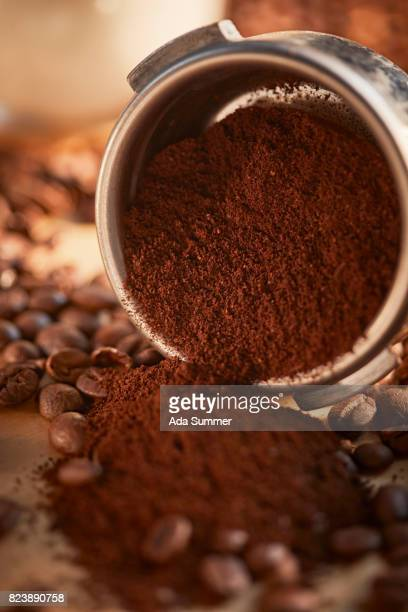 Close up of espresso grounds in machine