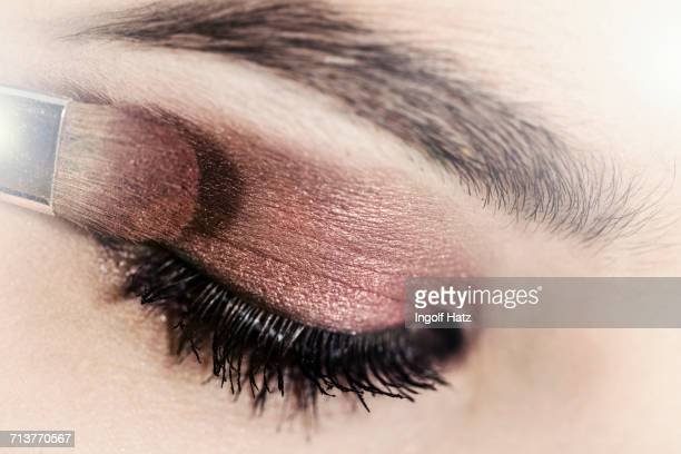 close up of eye shadow being applied to young womans eyelid - light brown eyes stock photos and pictures