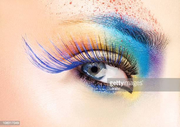 close up of eye with multicolored make-up - false eyelash stock pictures, royalty-free photos & images
