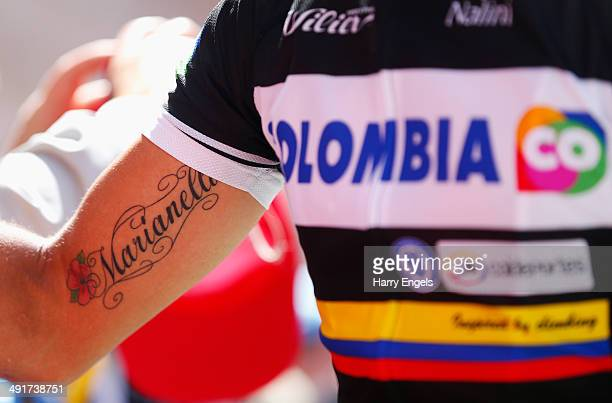 A close up of Fabio Duarte of Colombia's tattoo which reads 'Marianella' the name of his daughter prior to the eighth stage of the 2014 Giro d'Italia...