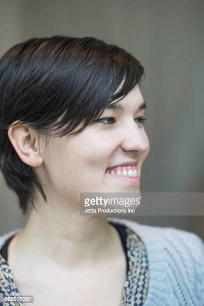 Close up of face of Caucasian businesswoman