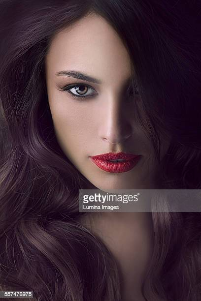 Close up of face of glamorous woman