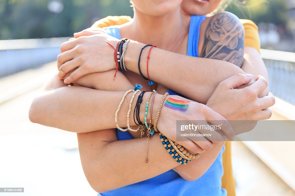 Close up of female intertwined hands : Stock Photo