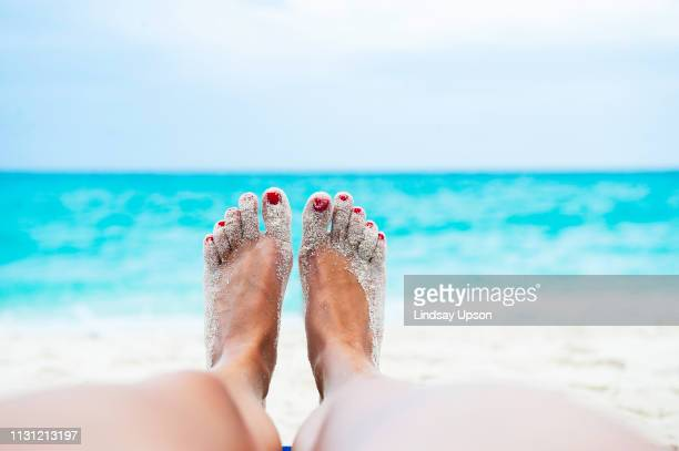 close up of female legs and feet sunbathing on beach - piedi foto e immagini stock
