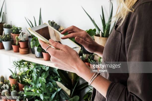 Close up of female owner of plant shop holding digital tablet, a selection of plants on wooden shelves.