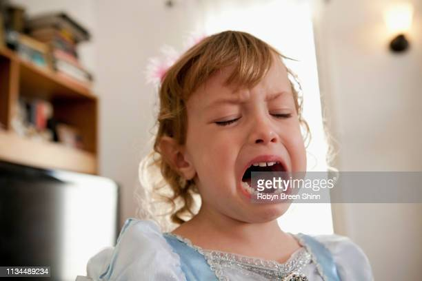 close up of female toddler crying - human mouth stock pictures, royalty-free photos & images