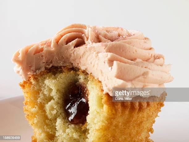 Close up of filled cupcake