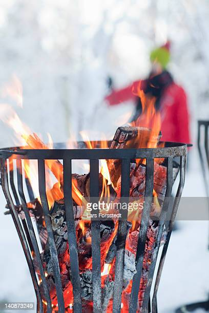 Close up of fire in pit
