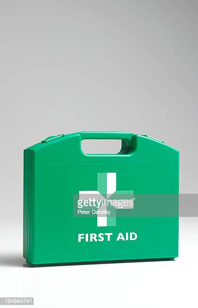 close up of first aid kit box - first aid kit stock pictures, royalty-free photos & images