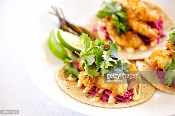 Close up of fish tacos on a plate