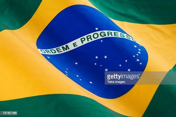 close up of flag of brazil - brésil photos et images de collection