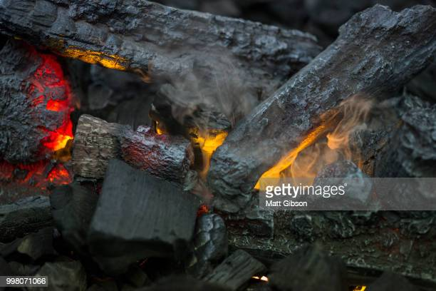 Close up of flames in log fire in cozy warm fire