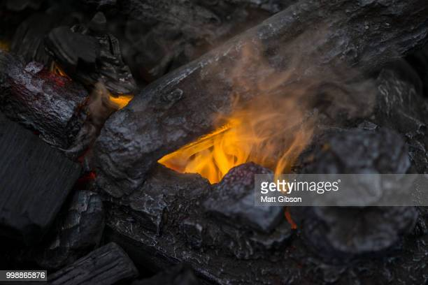 Close up of flames in log fire in cozy warm Winter fireplace
