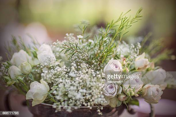Close up of flora decoration for a wedding