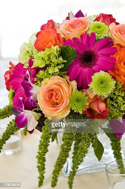Close up of floral centerpiece at a wedding