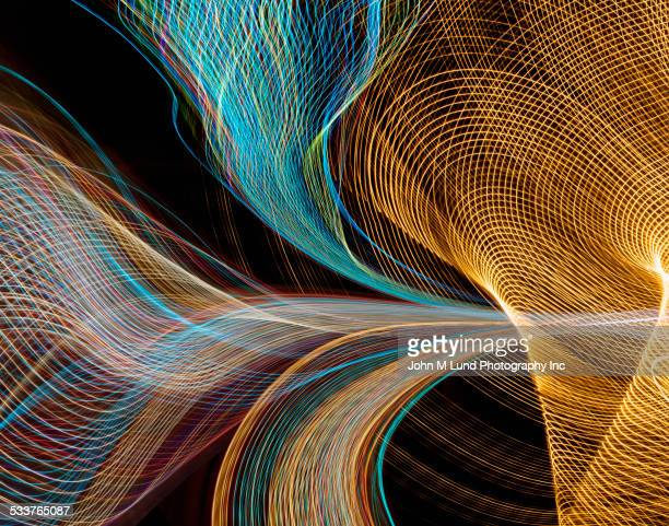 Close up of flowing light trails