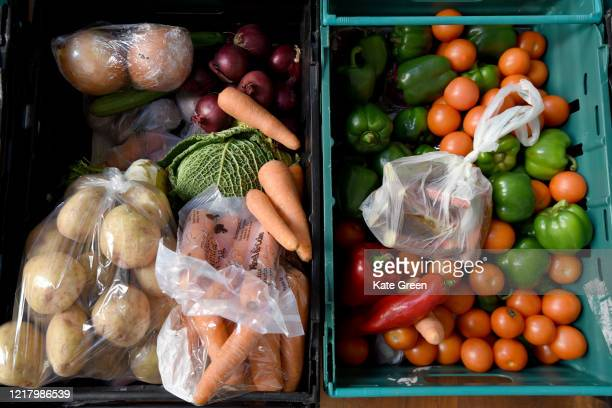 A close up of food parcels from the Islington Covid19 Mutual Aid group weekly distribution to members of their community who are in selfisolation and...