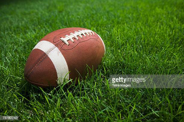 Close up of football in grass