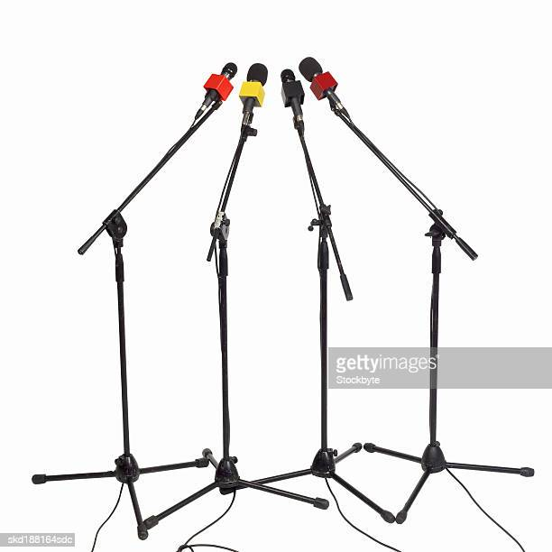 Close up of four microphone