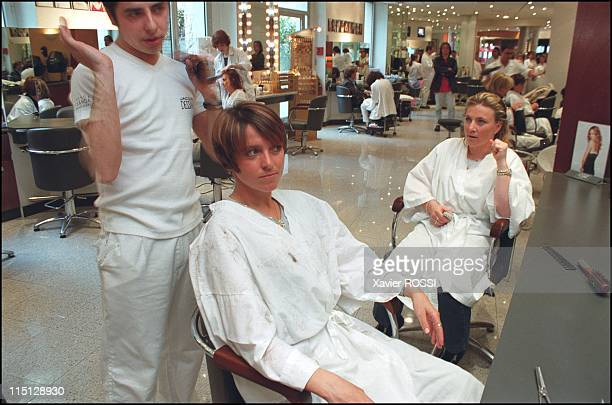 Close up of French skiers Regine Cavagnoud and Christelle Saioni in Paris France in April 2000 At French famous hairdresser Dessange