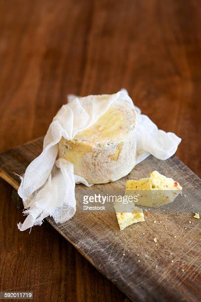 Close up of fresh cheese on cutting board