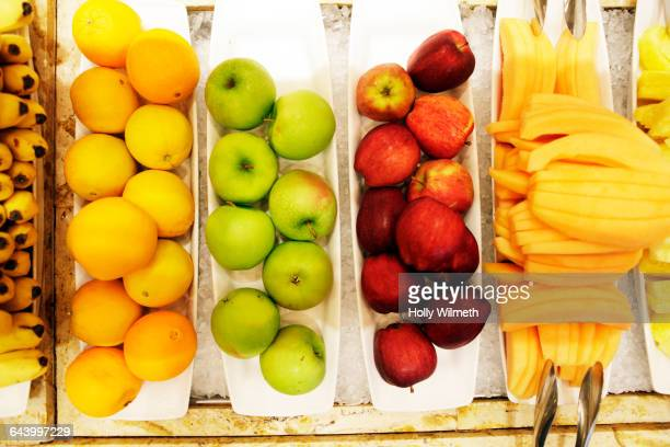 Close up of fresh fruit in trays