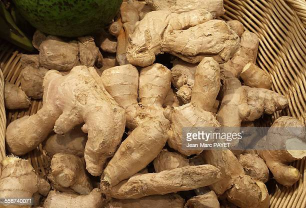 close up of fresh ginger roots - jean marc payet stock pictures, royalty-free photos & images