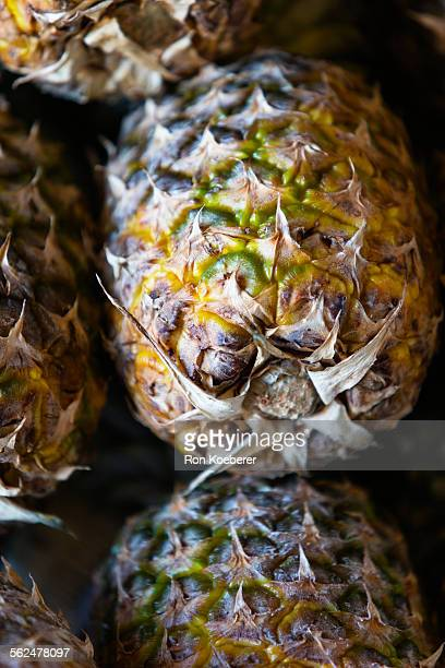 close up of fresh pineapples. - koeberer stock pictures, royalty-free photos & images