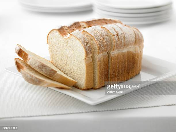 Close up of fresh sliced loaf of bread