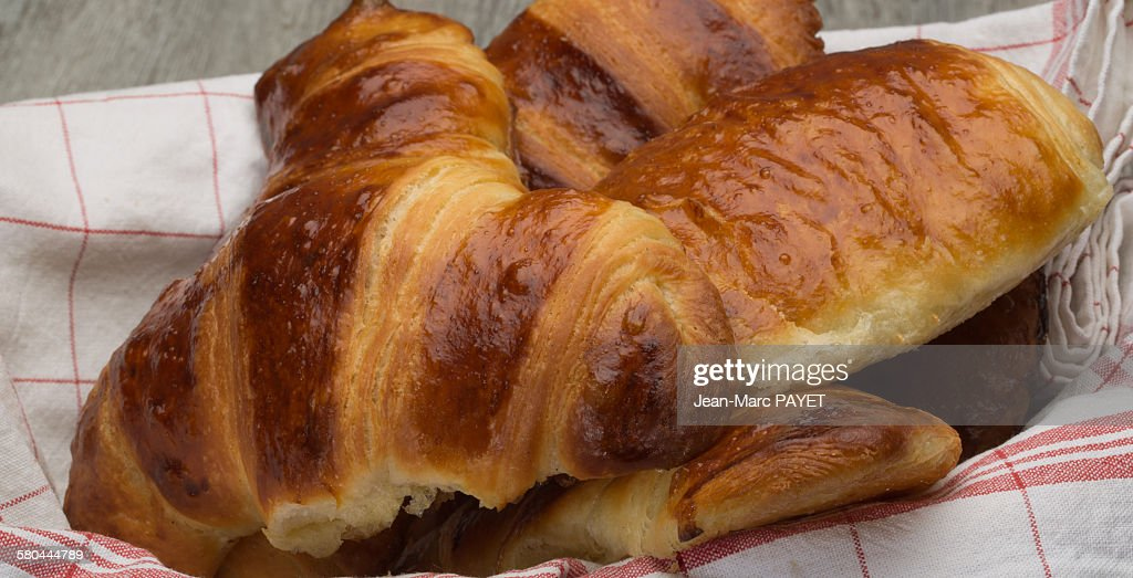 Close up of freshly baked croissants home made : Photo