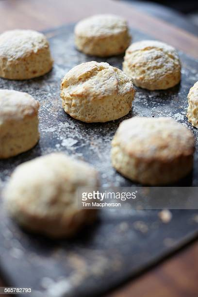 Close up of freshly baked scones on baking tray