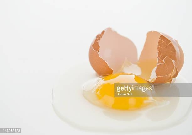 Close up of fried egg with cracked eggshell