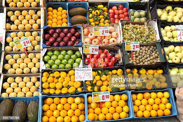Close up of fruit stall in Bario Macerana market Seville Spain