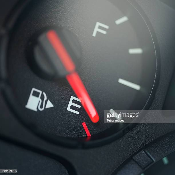 Close up of fuel gauge