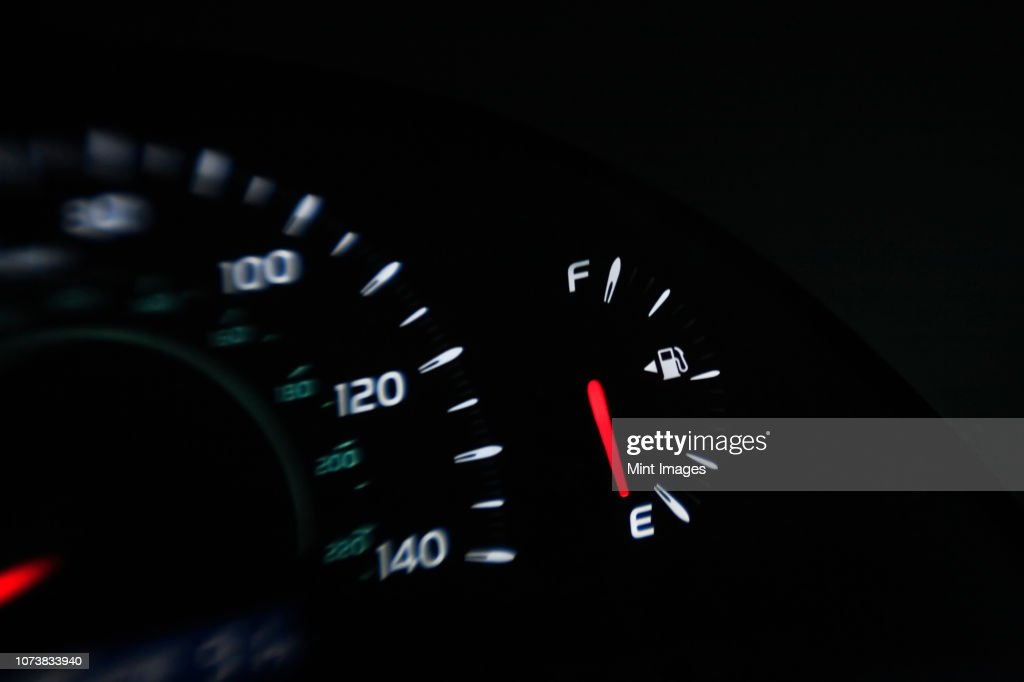 Close up of gas gauge on empty in a car. : Stock Photo