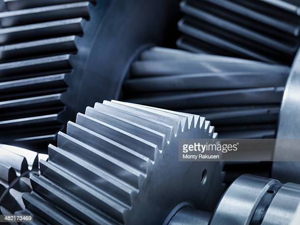 close up of gears in industrial gearbox - gears stock pictures, royalty-free photos & images