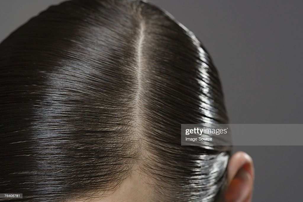 Primer plano de gelled cabello : Foto de stock