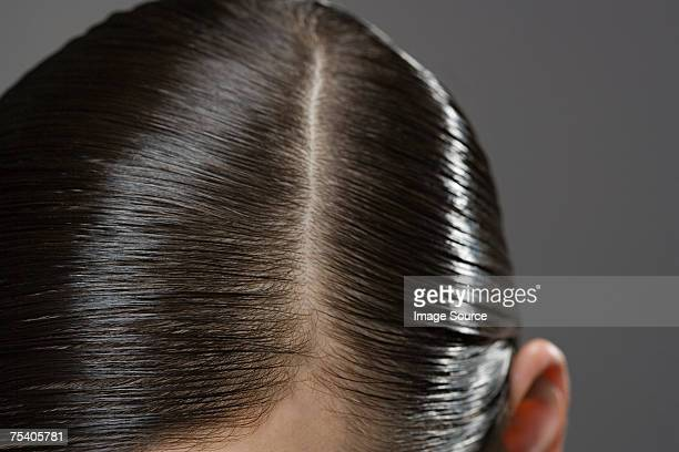 Close up of gelled hair
