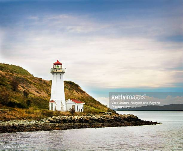 Close up of Georges Island Lighthouse in Halifax Harbour, Nova Scotia, Canada