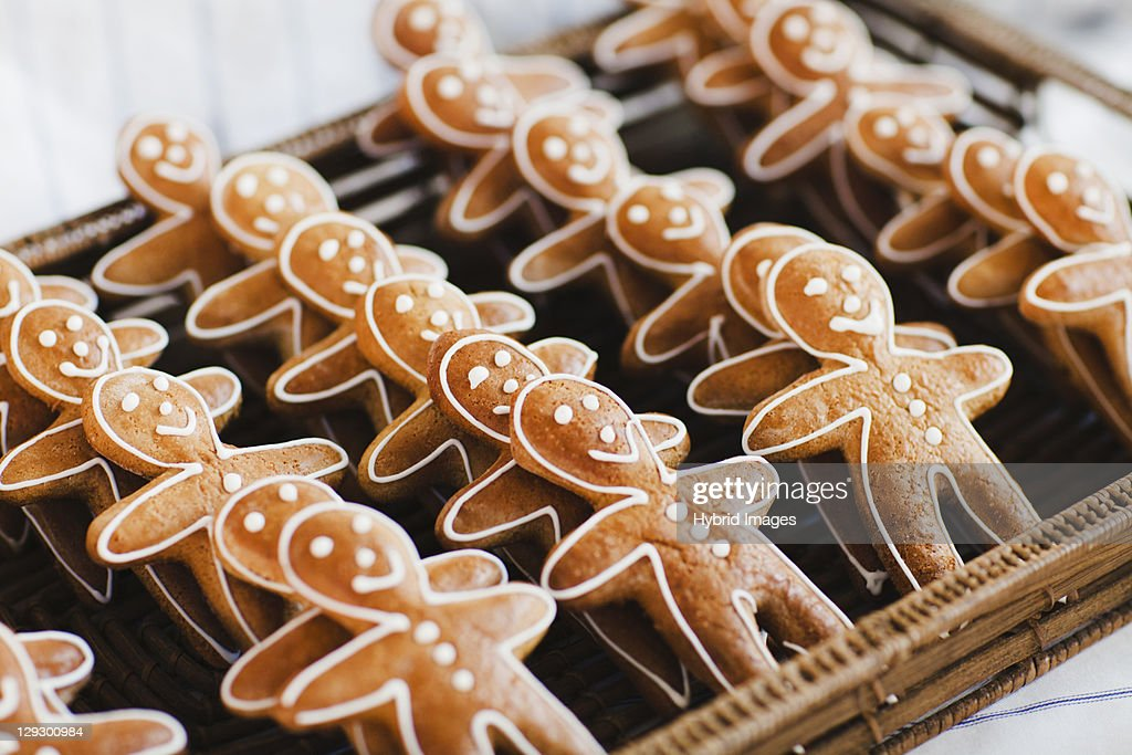 Close up of gingerbread men cookies : Stock Photo