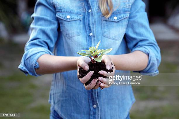 Close up of girl holding plant in pot soil